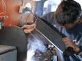 Schweißarbeiten an Bord unserer mobilen Hufschmiede